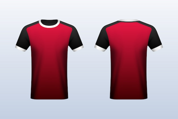 Download Front and back red jersey mockup Vector | Premium Download