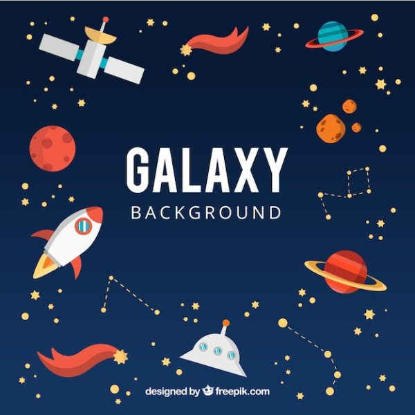 Galaxy background with planets and other elements Vector ...
