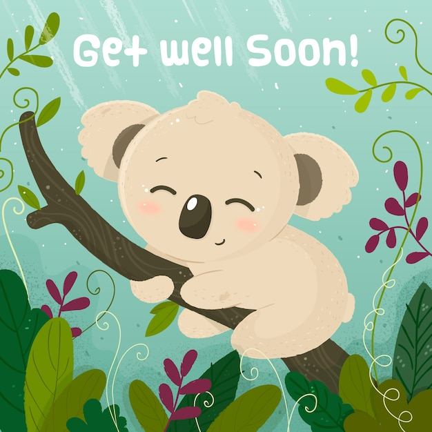 Free Vector Get Well Soon Message With Koala