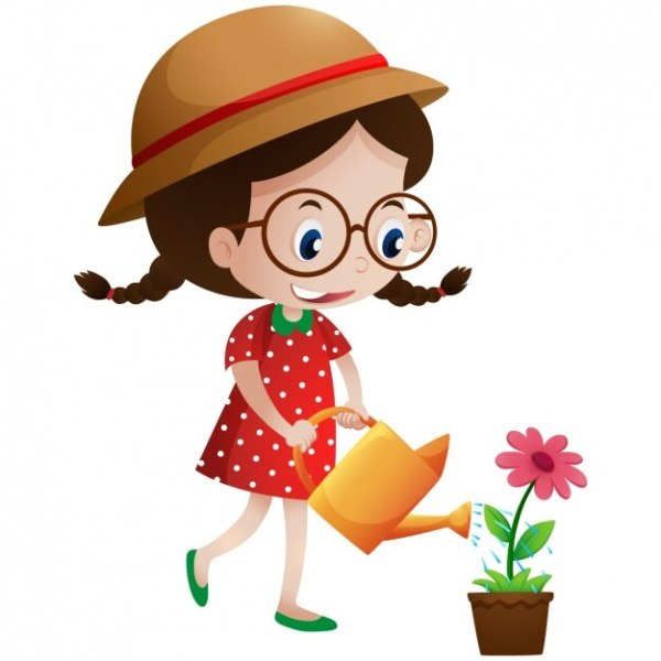 Girl watering a flower Vector Free Download