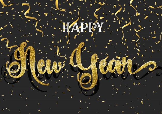 Glittery Happy New Year background Free Vector