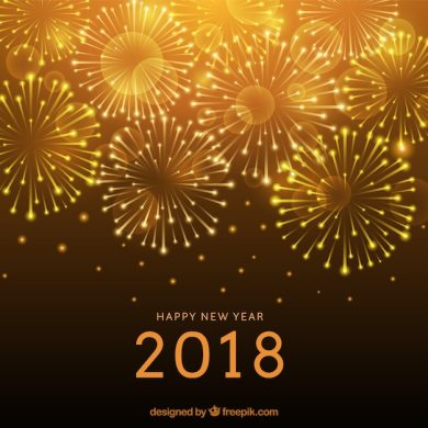 Golden new year background with fireworks Vector   Free Download Golden new year background with fireworks Free Vector