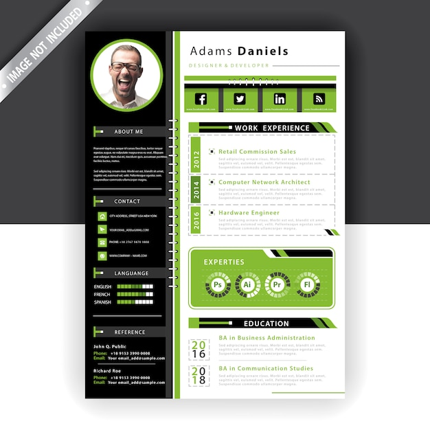Pick a dramatic color palette, add a photo,. Free Vector Green Resume Template