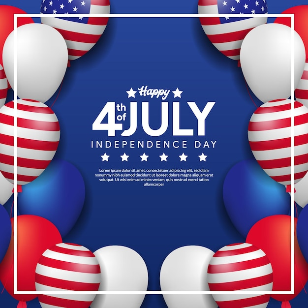 Greeting card of 4th july, independence day of usa with frame of colorful helium balloon and american flag Premium Vector