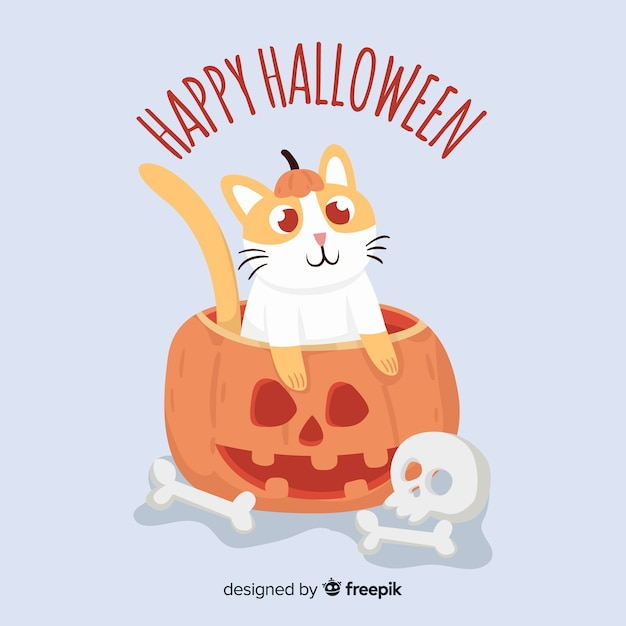 Enjoy and share your favorite the happy … Free Vector Halloween Cute Cat Background In Flat Design