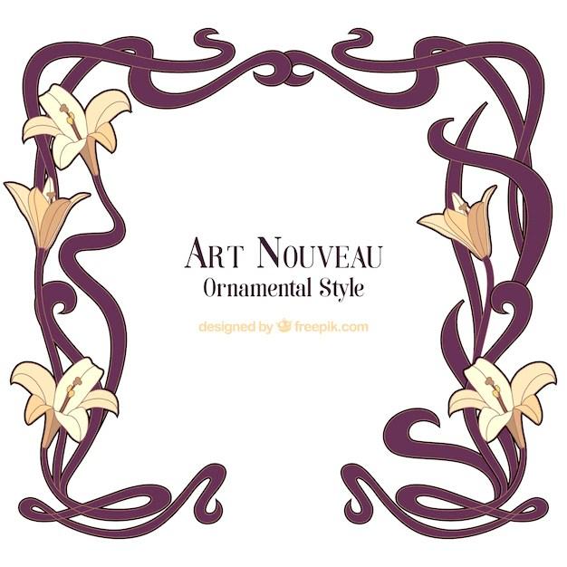 Hand Drawn Art Nouveau Fl Frame Free Vector