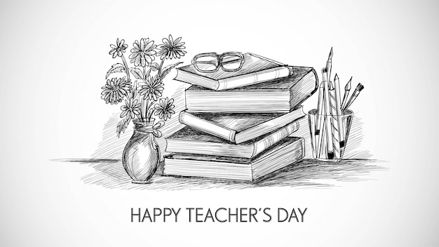Free Vector Hand Drawn Art Sketch With World Teachers Day Composition Design