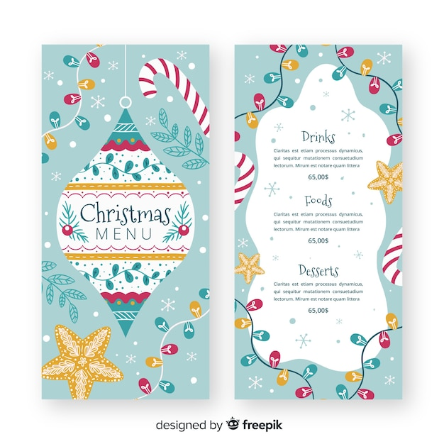 Hand drawn christmas menu template Free Vector