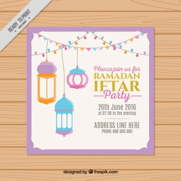 Hand Drawn Cute Ramadan Iftar Invitation Free Vector