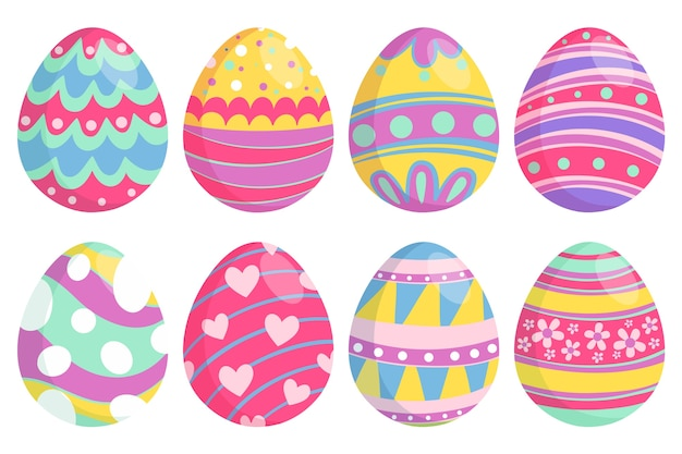 Hand drawn easter day eggs with happy colours Free Vector