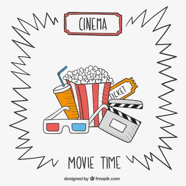 Hand drawn movie time Vector | Free Download