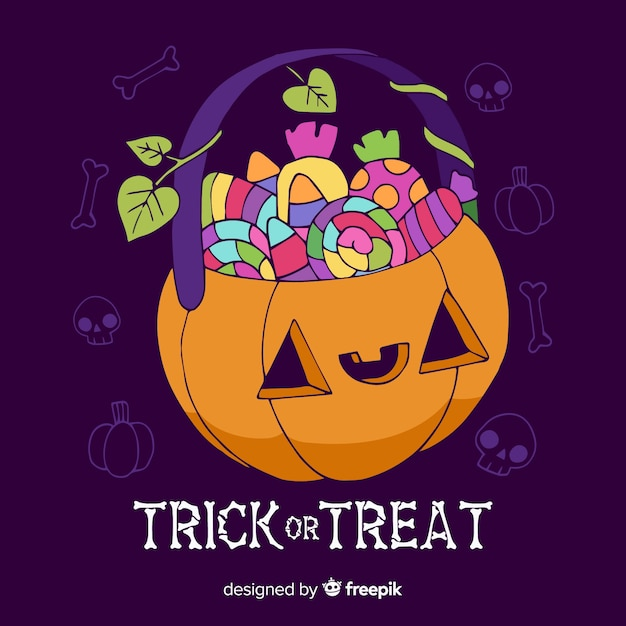 Free Vector Hand Drawn Trick Or Treat Halloween Bag Collection