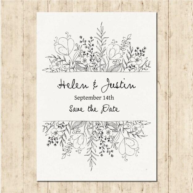 Hand Drawn Wedding Invitation Free Vector