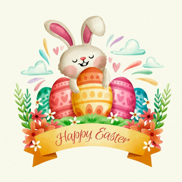 Hand painted easter day event Free Vector
