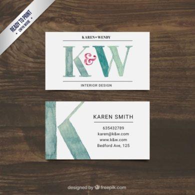 Hand painted interior design business card Vector   Free Download Hand painted interior design business card Free Vector