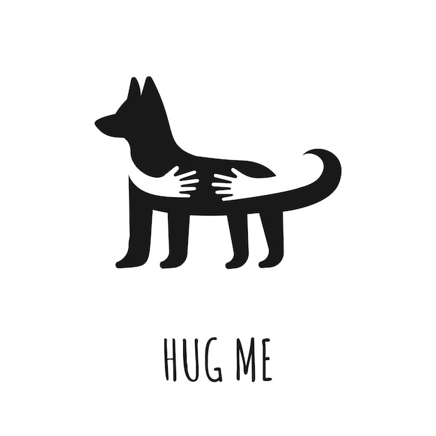 Download Hands hugging dog. flat vector icon with dog. hug me text ...