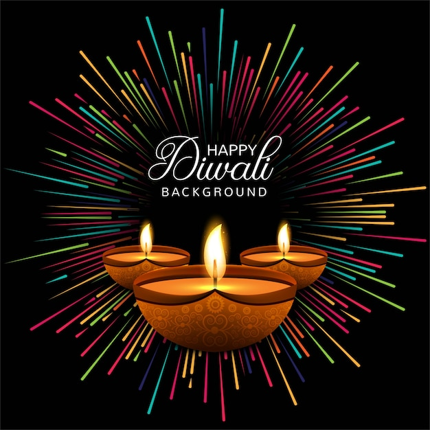 Free Vector Happy Diwali Diya Oil Lamp Festival Card
