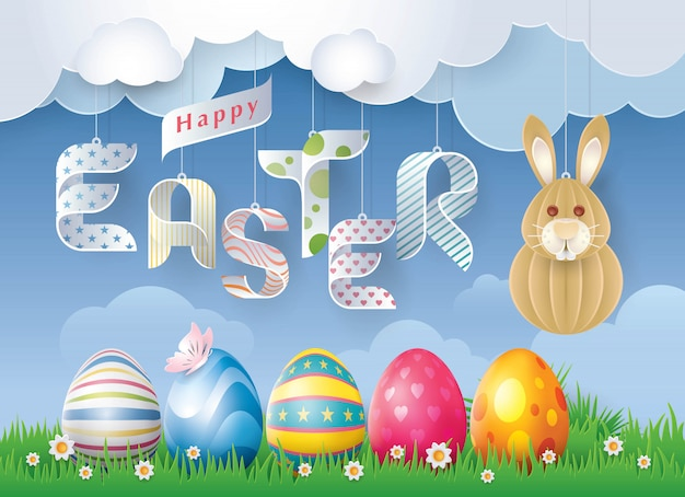 Happy easter greeting card | Premium Vector
