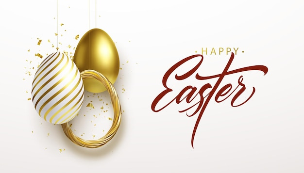 Happy easter lettering background with 3d realistic golden glitter decorated eggs, confetti. vector illustration eps10 Free Vector
