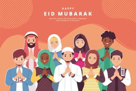 Happy eid mubarak illustration greeting card Premium Vector