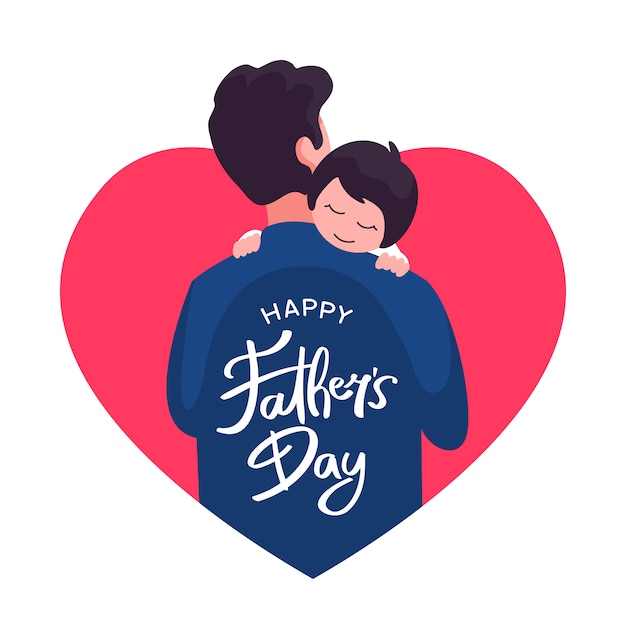 Happy father's day greeting card design. dad holding his child vector flat illustration with love heart frame and hand lettering typography text Premium Vector