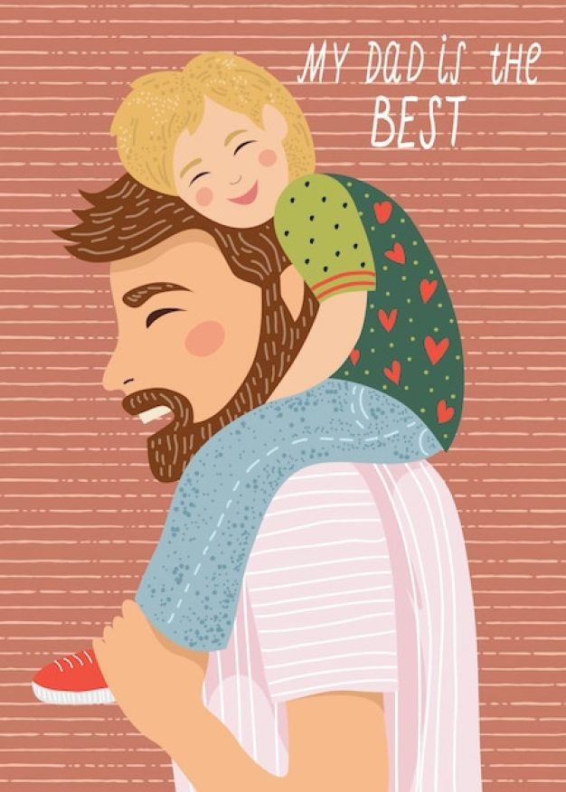 my dad's the best hand-drawn illustration of dad and the child sitting on his shoulders Premium Vector
