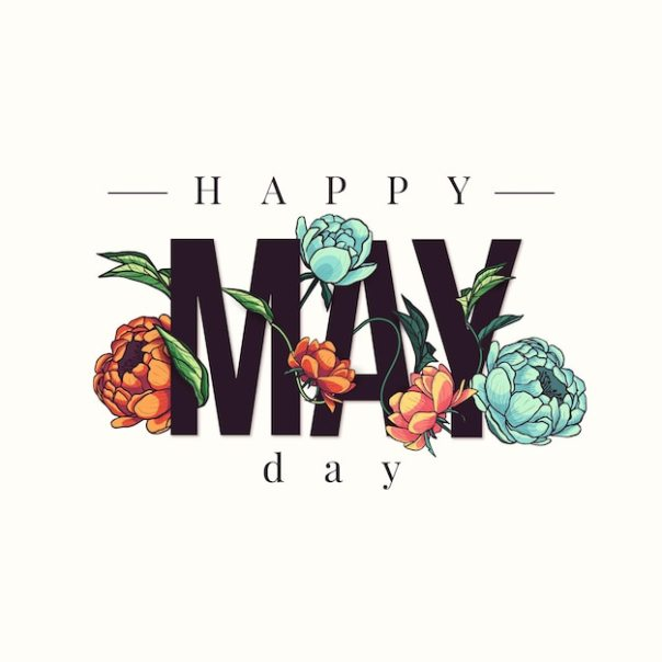 Happy may day background with hand drawn flowers | Free Vector