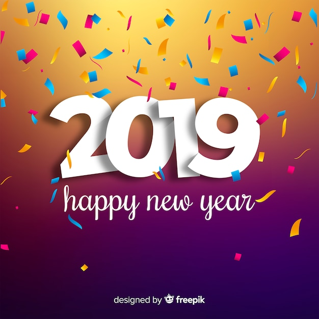 Happy New Year 2019 Background Vector Free Download