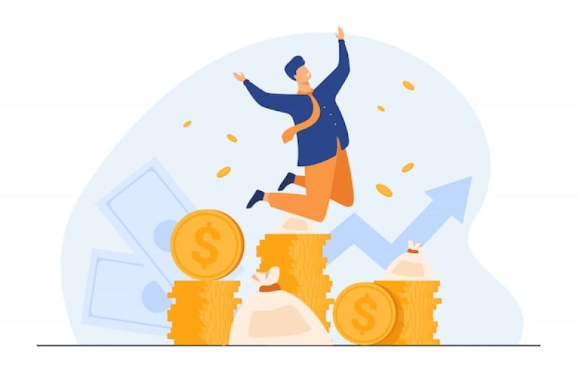 Happy rich banker celebrating income growth Free Vector