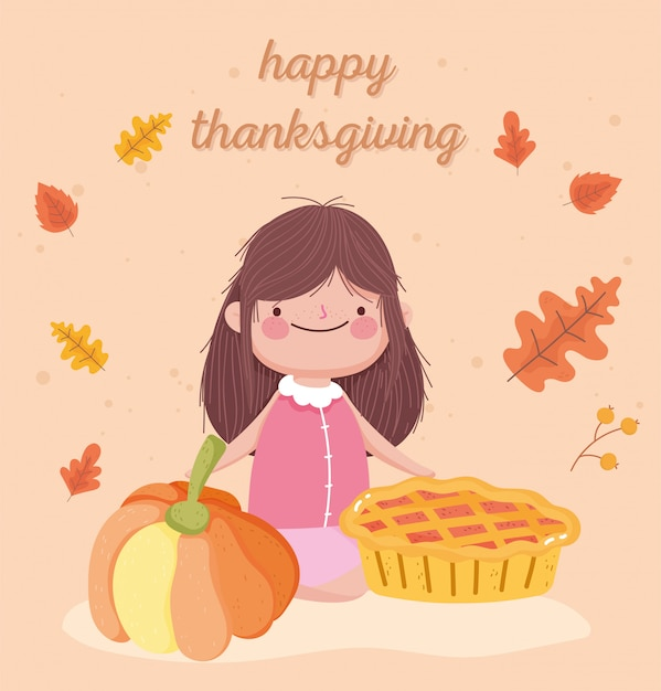 Premium Vector Happy Thanksgiving Day Cute Little Girl With Pie And Pumpkin