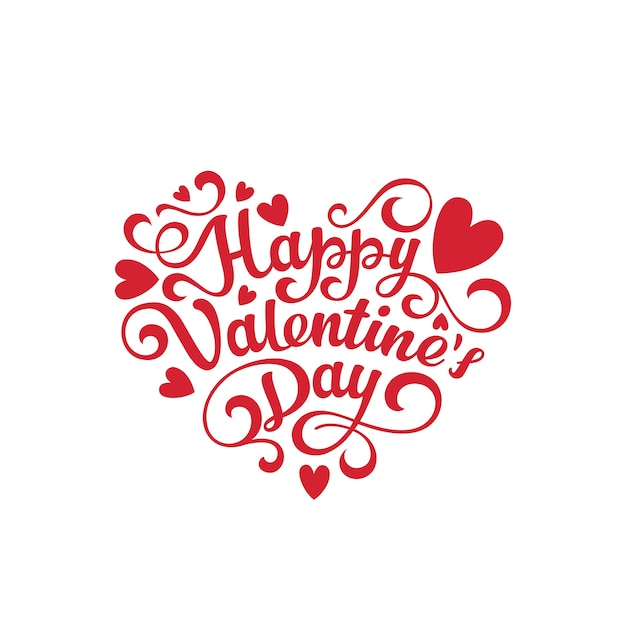 Happy valentines day text lettering heart shape Free Vector