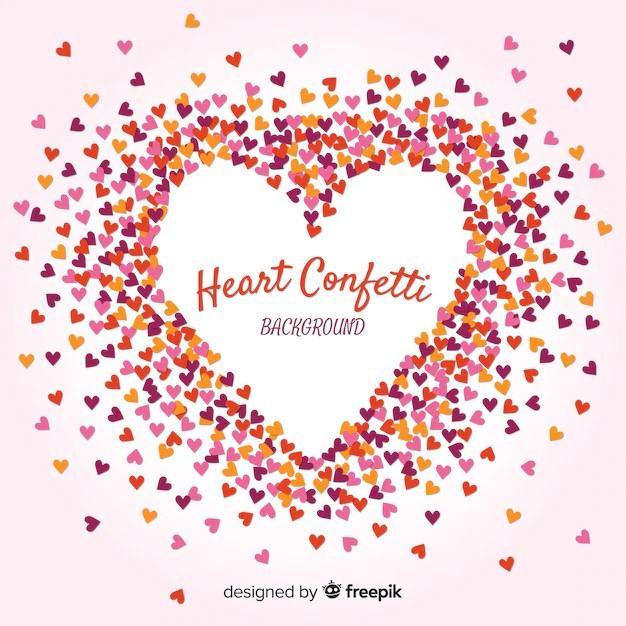 Confetti Hearts Forming a Heart Free Vector