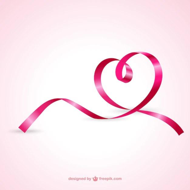 Pink Ribbon Forming a Heart Free Vector