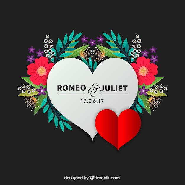 Heart Of Romeo And Julieta With Flowers Background Vector