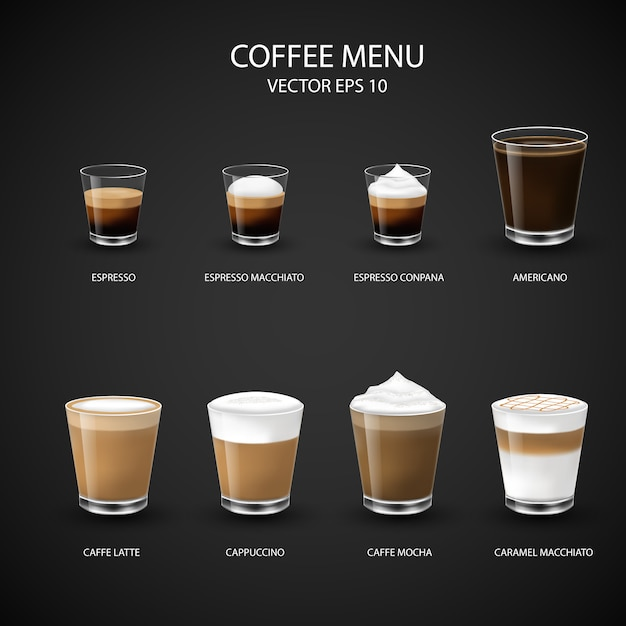 Premium Vector | Hot coffee menu in glass cup from espresso machine for  coffee shop,