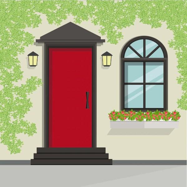 House front door and window view, vector illustration ...