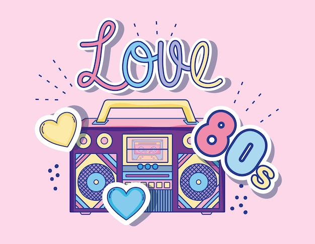 Download I love 80s cartoons radio stereo with hearts Vector ...