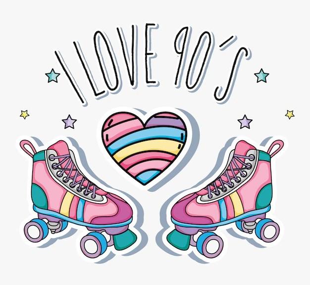 Download I love 90s cartoons skates and heart   Premium Vector