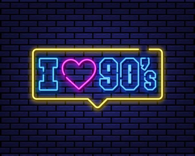 Download I love 90s neon sign   Premium Vector