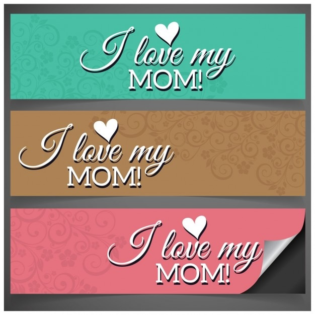 Download Free Vector | I love my mom banners in different colors