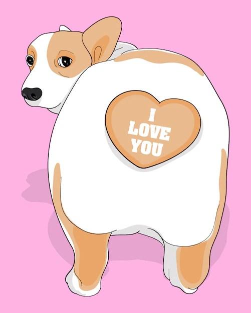 Download I love you, hand drawn cute corgi illustration | Premium ...
