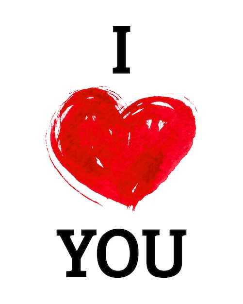 Download I love you with heart in watercolor style Vector | Premium ...