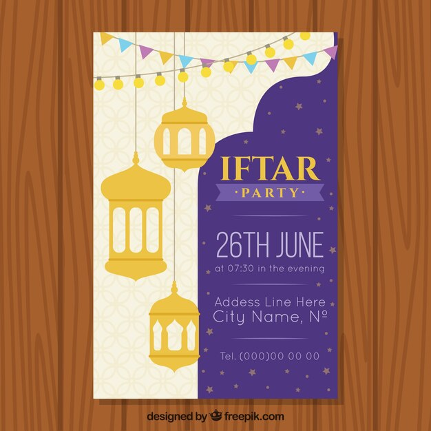 Iftar invitation in arabic invitationjdi iftar invitation with arabic lamps and ornaments vector free stopboris Images