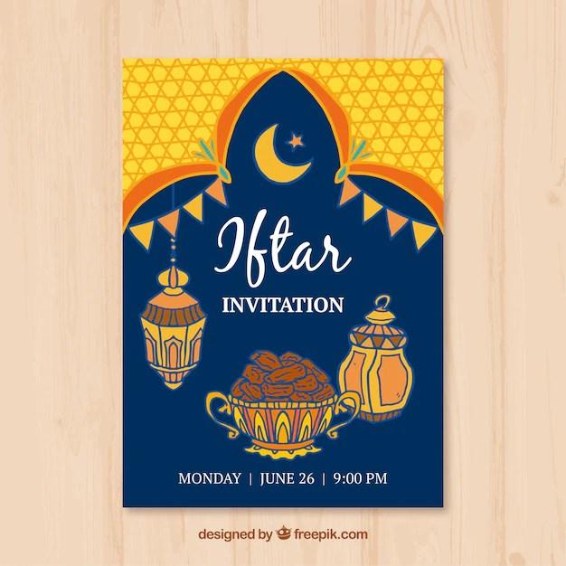 Iftar invitation in arabic invitationjdi iftar invitation with food and arabic lamps vector free stopboris Image collections