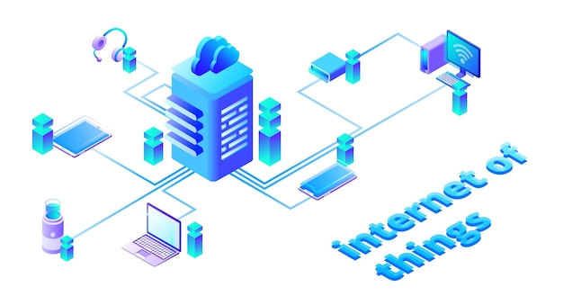 Illustration of smart devices network in web cloud communication technology Free Vector