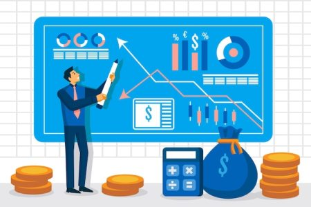 premium vector illustration of stock market analysis
