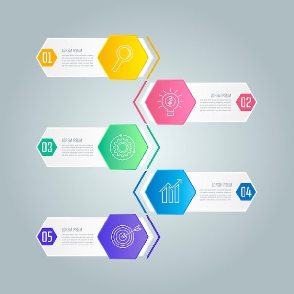 Infographic design business concept with 5 options. Vector ...