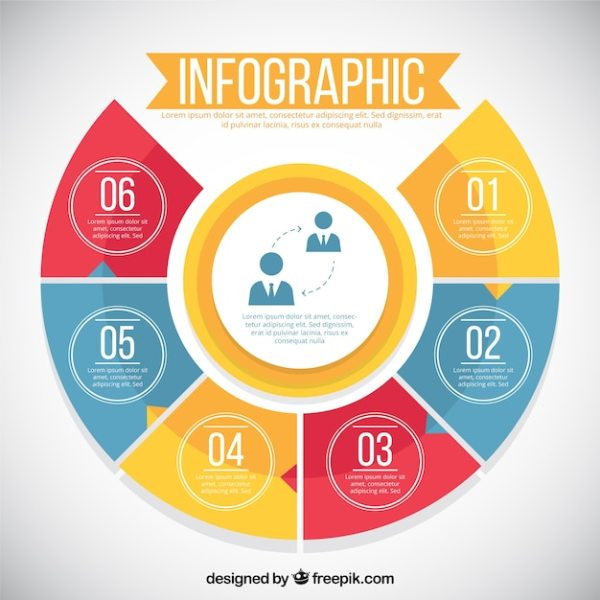 Infographic with six colorful options Vector | Free Download