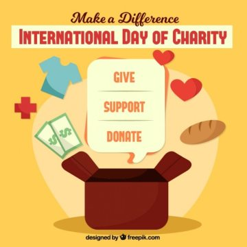 International day of charity background Free Vector