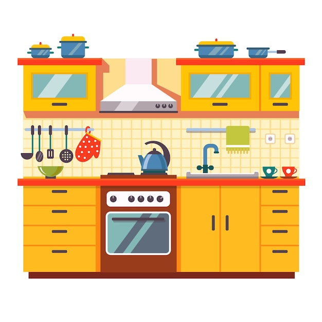Kitchen Wall Interior Vector Free Download